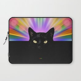 Black Cat With Colorful Background Laptop Sleeve