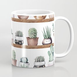 Cactus Shelf Rose Gold Green Coffee Mug