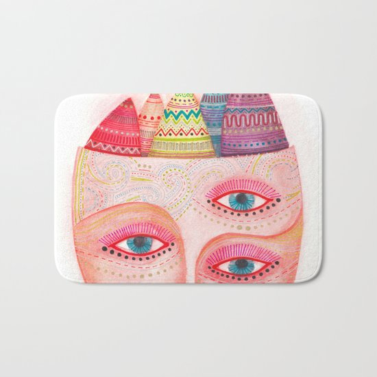 mask - girl with the most beautiful eyes Bath Mat