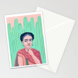 Frida Kahlo Mexican Artist gouche painting print Stationery Cards