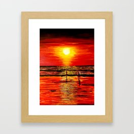The red sunset  that leave us enchanted Framed Art Print