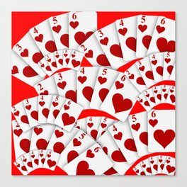 "DECORATIVE RED ""ROYAL FLUSH"" IN RED HEARTS SUIT Canvas Print"