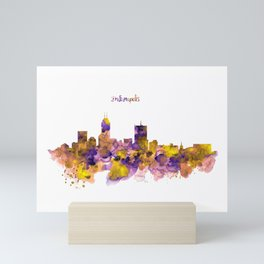 Indianapolis Skyline Silhouette Mini Art Print