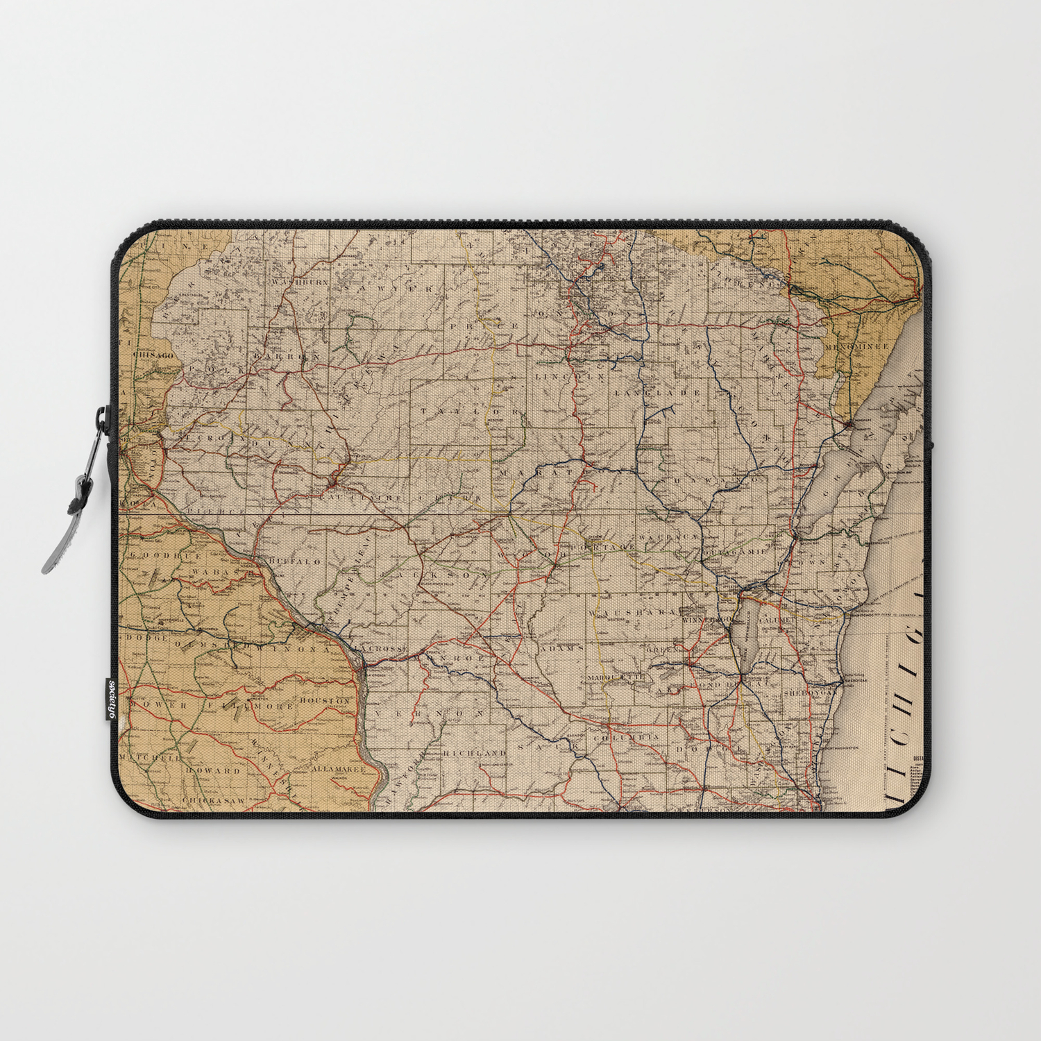 Vintage Wisconsin Railroad Map (1900) Laptop Sleeve on map of uranus, map of cold mountain, map of jfk, map of luna, map of the great war, map of brazil, map of greed, map of italy, map of police, map of iran, map of new york, new york, map of barbara, map of 49th parallel, map of life is beautiful, map of wolf, map of gettysburg, map of apocalypse now, map of network, map of zulu,