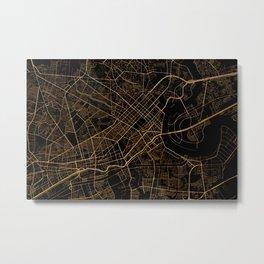 Black and gold Ho Chi Minh map, Vietnam Metal Print