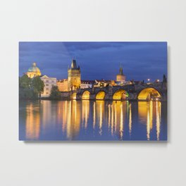 The Charles Bridge in Prague, Czech Republic at night Metal Print