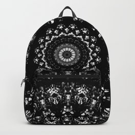 Kaleidoscope crystals mandala in black and white Backpack