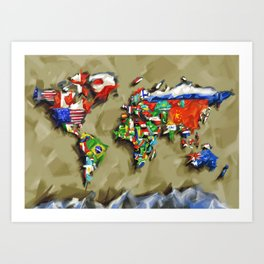 world map with flags vintage 2 Art Print