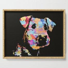 Pastel Paint Airedale Terrier Portrait Serving Tray