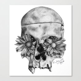 Skull and Flowers Drawing Canvas Print