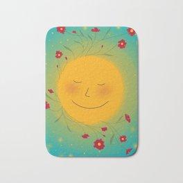 Happy Sun and Poppy Flowers Bath Mat