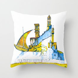 Sharjah Traditional Art in water colour Throw Pillow