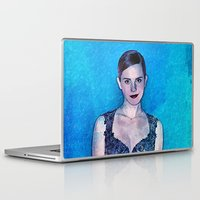 emma stone Laptop & iPad Skins featuring Emma Watson - Blue by André Joseph Martin