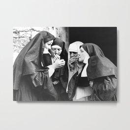 Smoking Nuns, Black and White, Vintage Wall Art Metal Print