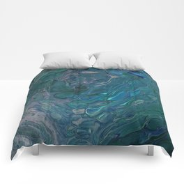 Unseen - dark teal acrylic pour abstract art Comforters