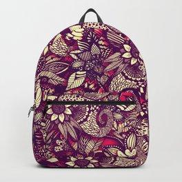 Modern Rustic Red Floral Drawings Backpack