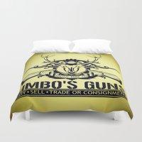 guns Duvet Covers featuring Jimbo's Guns by Silvio Ledbetter