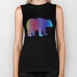 Rainbow Watercolor Dripping Bear Biker Tank