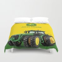 john green Duvet Covers featuring John Deere Green Tractor by rumahcreative