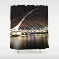dublin Shower Curtains featuring Samuel Beckett Bridge, Dublin by Ciaran Mcg