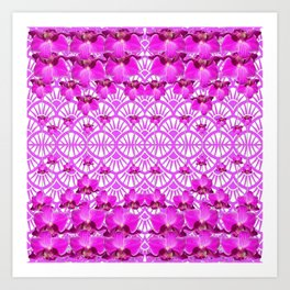 ABSTRACT PATTERNED PURPLE ART DECO  ORCHIDS Art Print