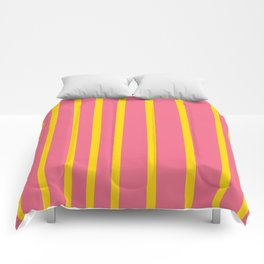 Pink and Yellow Stripes Comforters