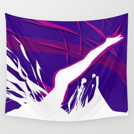 Pure White Diver in the Purple Sky Abstract Art Wall Tapestry