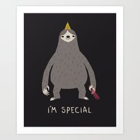 sloth Art Prints featuring sloth by Louis Roskosch