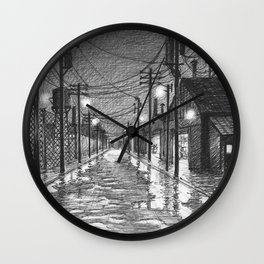 Raining on industrial street Wall Clock