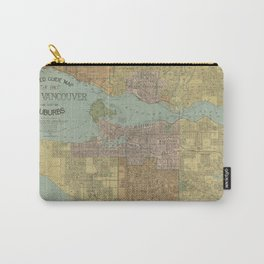 Vintage Map of Vancouver Canada (1920) Carry-All Pouch