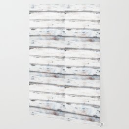 Old Painted Planks In Fog, Wood Texture Decor Wallpaper