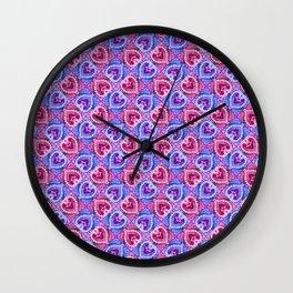 Harlequin Hearts Wall Clock