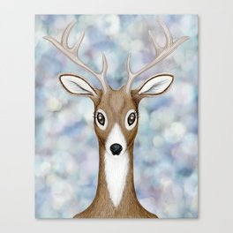 white-tailed deer woodland animal portrait Canvas Print