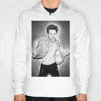 jared leto Hoodies featuring Jared Leto (30 Seconds To Mars) Portrait. by Carl Merrell Art