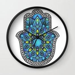 Colorful Blue Hamsa Hand Wall Clock