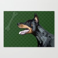 doberman Canvas Prints featuring Doberman by Miguel de Elena
