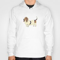 the hound Hoodies featuring Basset Hound by Rebecca Mcmillan