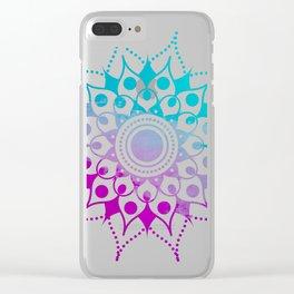 Mandala #2 (Purple Pink Turquiose) Clear iPhone Case