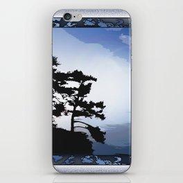 TWO WINDSWEPT DOUGLAS FIR ON THE SHORELINE iPhone Skin