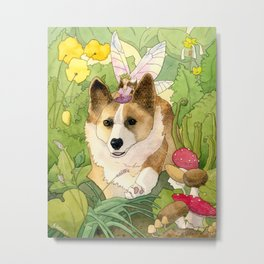 The Faerie and the Welsh Corgi Metal Print