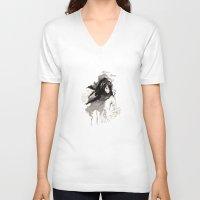 les miserables V-neck T-shirts featuring Miseria de los miserables (sketch version) by Niko Bleach