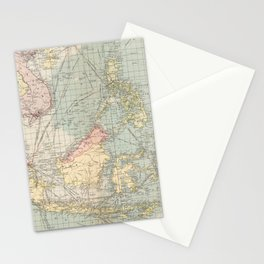 Vintage Map of Indonesia and The Philippine Ports (1905) Stationery Cards