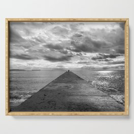 Pyramid at the sea in Cannes Black and white photography Serving Tray