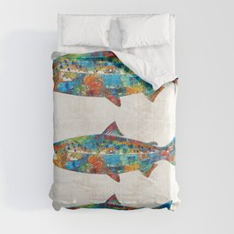 Fish Art Print - Colorful Salmon - By Sharon Cummings Comforters