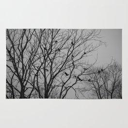 Roosting birds on silhouette tree Rug