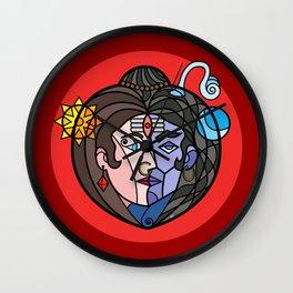 Shiva Parvati Red Wall Clock