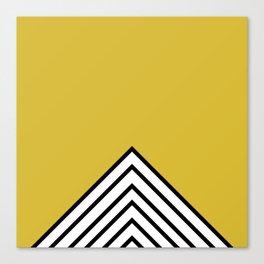 MUSTARD BLACK AND WHITE STRIPES Canvas Print