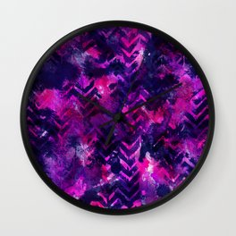 Pink Chevron Ink Spill Wall Clock