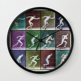 Time Lapse Motion Study Man Running Monochrome Wall Clock