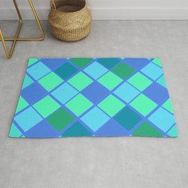 Latticed Blue and Green Diamond Pattern Rug